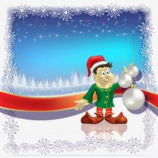 Free Christmas White Balls And Dwarf On Blue Royalty Free Stock Images - 16407469