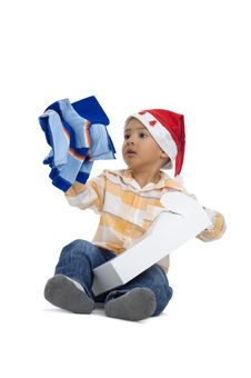 Free Boy Opening Christmas Gift Royalty Free Stock Photos - 16408478
