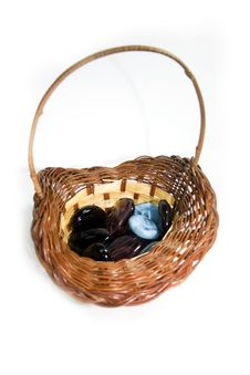 Free Colored Stones And Glass In A Straw Basket Royalty Free Stock Image - 16409596