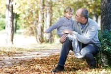 Father And Son In Park Royalty Free Stock Photography