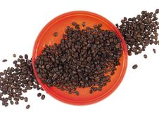 Free Red Dish And Coffee Beans Royalty Free Stock Images - 16409839
