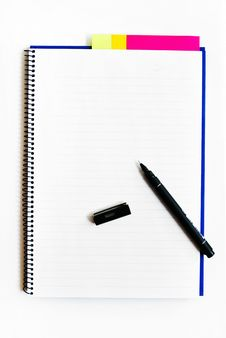 Blank Notebook With A Pen Isolated Royalty Free Stock Photography