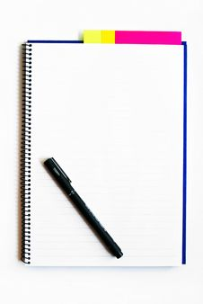 Blank Notebook With A Pen Isolated Royalty Free Stock Image