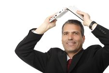 Free Businessman Holding His Laptop Stock Photos - 16410103