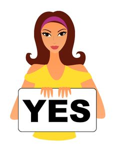 Free Girl With A YES Sign Royalty Free Stock Photography - 16410547