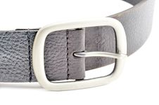 Black Leather Belt With A Silver Buckle Stock Photo