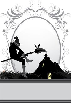 Free Halloween Witch On A Background Of Nightly Castle Royalty Free Stock Images - 16411269