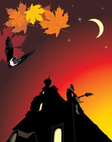 Free Sitting Witch On The Roof Of Castle. Halloween Stock Photography - 16411282