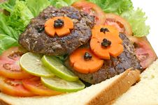 Grill Beef Hamburger With Salad