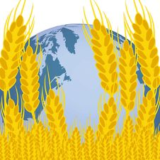 Planet Land And Ear Of The Wheat Royalty Free Stock Images