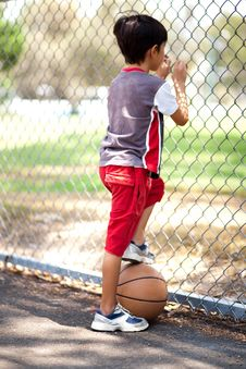 Free Rear View Of Young Basketball Player Royalty Free Stock Images - 16412309