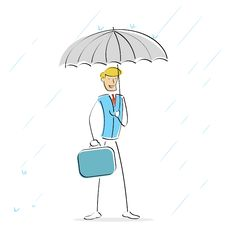Free Image Of  Man Holding Umbrella In Rainy Day Royalty Free Stock Images - 16412339