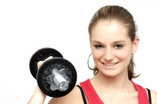 Free Dumbbell Girl Royalty Free Stock Image - 16414556