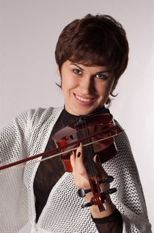 Free Girl With Violin Portrait Stock Photos - 16414973