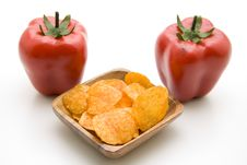 Free Potato Chips With Paprikas Stock Photo - 16415570