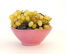Free Grapes And Plums In A Pink Vase Royalty Free Stock Photography - 16416127