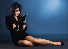 Free Lady With A Pistol In Hands Royalty Free Stock Images - 16416169
