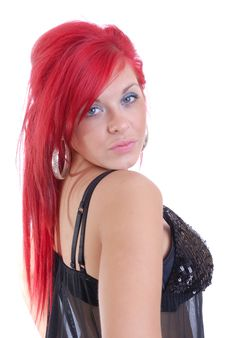 Pretty Young Woman With Red Hair In Black Lingerie Stock Images