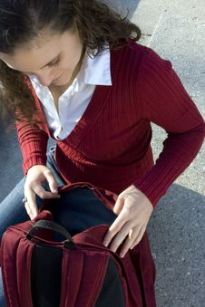 Free Student In Red Opening Backpack Royalty Free Stock Photos - 16417418