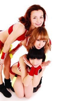 Free Three Styled Professional Cheerleader. Royalty Free Stock Photography - 16418287