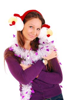 Free The Girl In Fur Ear-phones. Royalty Free Stock Images - 16418449