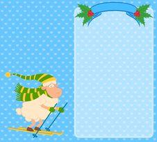 Cartoon Funny Skier Sheep Royalty Free Stock Photo