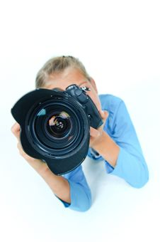 Girl With A Camera Big Lens. Royalty Free Stock Photo