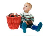 Boy With A Basket Of Mushrooms Stock Photography
