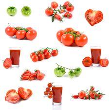 Free Set Of Tomatos And Tomato Juices Royalty Free Stock Image - 16418946