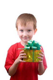Free Happy Boy With Present Royalty Free Stock Images - 16419049