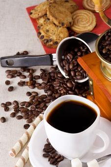 Free Coffee Pot, Sweets, Cup And Grinder Stock Photos - 16419653