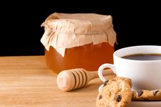 Free Coffee, Honey And Cookies Royalty Free Stock Images - 16419699