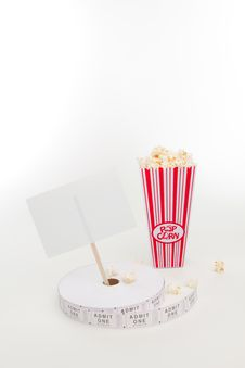 Free Popcorn, Movie Tickets And A Sign Royalty Free Stock Photos - 16419868