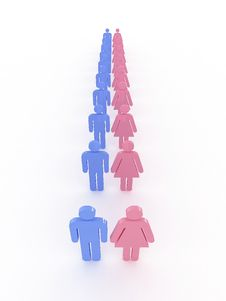 Symbols Of Male And Female Pink And Blue. 3D Stock Image