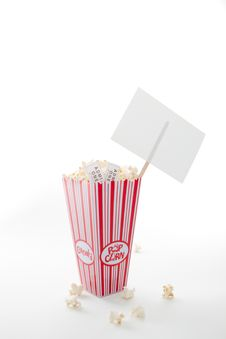 Free Popcorn, Movie Tickets And A Sign Stock Photography - 16419942