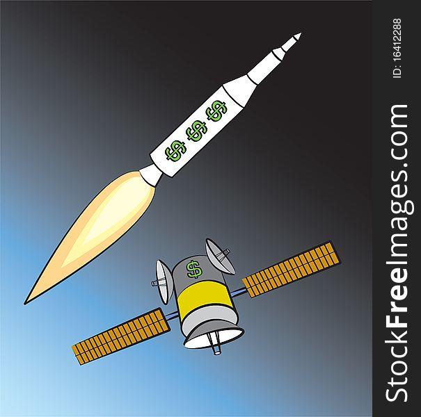 Rocket and Satellite
