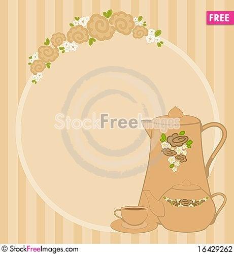 cups and tea-pot Stock Photo