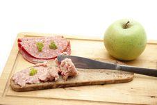 Free Prank Sausage With Apple Royalty Free Stock Photo - 16420445