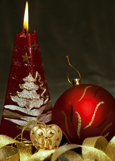 Free Christmas  Still Life - Red Burning Candle With Ev Royalty Free Stock Photography - 16420467