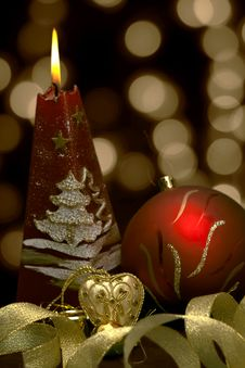 Free Christmas  Still Life - Red Burning Candle With Ev Stock Images - 16420474