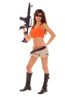 Free Armed Girl Posing Royalty Free Stock Images - 16421589