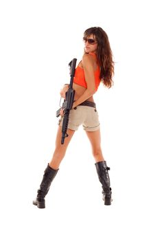 Armed Girl Posing Royalty Free Stock Images
