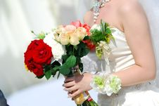 Bride Holding Flowers Royalty Free Stock Photography