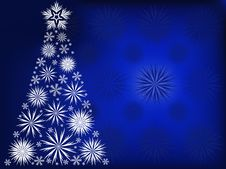 Free Christmas Tree In The Blue Snow Flakes Stock Photo - 16421990