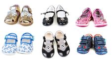 Free Collage From Six Pairs Baby Footwear Stock Images - 16422984