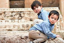 Free Boys On Ruins Stock Image - 16423701
