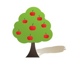 Free Abstract  Tree With Red Apple. Vector Stock Photography - 16425382