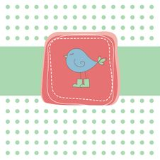 Free Romantic Card With Bird . Vector Illustration Stock Photography - 16425402