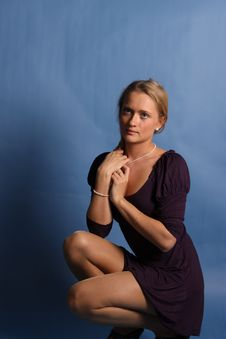Free Blonde Woman On Blue Background Royalty Free Stock Photos - 16425718