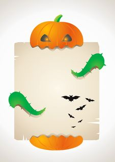 Free Pumpkin And A Sheet Of Paper Stock Photo - 16425740